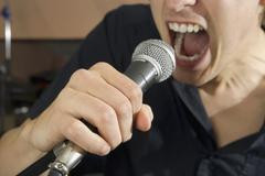 Close-up of singer - stock photo
