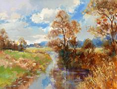 Fall landscape painting Stock Illustration