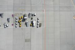 Aerial view of tarmac markings and equipment at airport Stock Photos