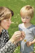 Mother and son making daisy chain Stock Photos