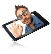 wow expression with tablet - stock photo