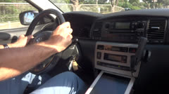 Man drives with tablet Stock Footage