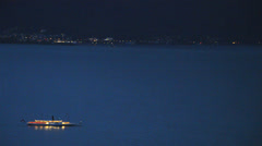Boat at night Stock Footage