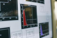Graphs and charts on computer screen in a laboratory Stock Photos