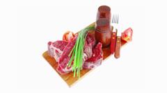 Main course : fresh beef steak Stock Footage