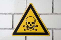 Toxic substance sign with skull and crossbones Stock Photos