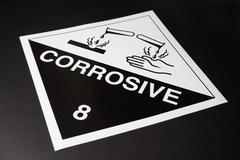 Corrosive' warning sign Stock Photos