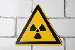 Radioactive warning sign Stock Photos