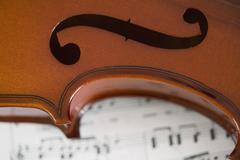 Detail of violin on sheet music Stock Photos
