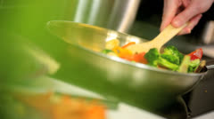 Stock Video Footage of Colourful Organic Stir Fried Vegetables