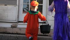 Kids in Halloween costumes Stock Footage
