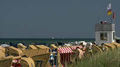 Beach Chairs on Poel Island - Baltic Sea, Northern Germany Stock Footage