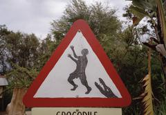 Warning sign for crocodiles Stock Photos