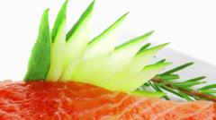 Salmon fillet with pesto sauce Stock Footage