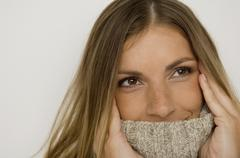 Stock Photo of Portrait of a woman wearing turtleneck sweater