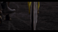 HARNESS RACING CART - WHEEL CLOSE-UP Stock Footage