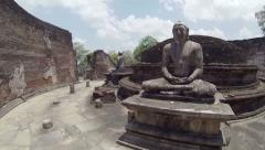Interior of an abandoned ancient buddhist temple. sri lanka Stock Footage
