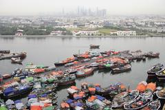 Fishing boats, Dubai, United Arab Emirates Stock Photos