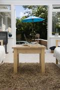 View of a patio from a conservatory Stock Photos