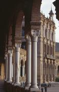 Detail of the arches and columns of the Palacio Espanol, Seville, Andalusia, Stock Photos