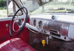 Interior of a vintage car, Havana, Cuba Stock Photos