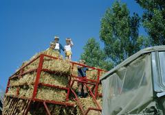 Children standing in hay bales on tractor Stock Photos