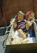 Baby boy in a pram Stock Photos