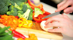 Preparing Healthy Lifestyle Fresh Vegetables Close Up Stock Footage