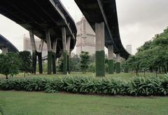 Elevated roads with high rise buildings in the distance, Singapore Stock Photos