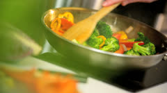 Healthy Lifestyle Stir Fry Cooking - stock footage