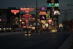 Street scene at night, Las Vegas, Nevada Stock Photos