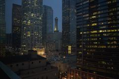 Illuminated skyscrapers in the downtown district at night, Los Angeles, Stock Photos