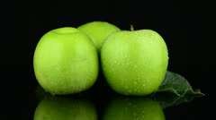 Green apples with water drops Stock Footage