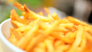 Stock Video Footage of Freshly Cooked Crispy French Fries
