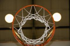 View through a basketball hoop - stock photo