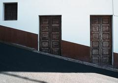 Wooden doors of a residential building on a hill, La Palma, Canary Islands, Stock Photos