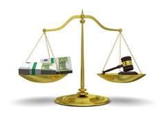 profit versus justice - stock illustration