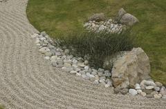 Grass and rock arrangement in a zen garden Stock Photos