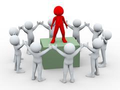 3d team leader and team members - stock illustration