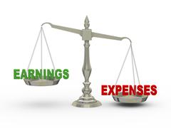 3d earnings and expenses on scale - stock illustration