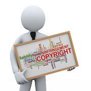 3d businessman holding copyright wordcloud Stock Illustration