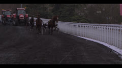 HARNESS RACING - HORSES APPROACHING 4 Stock Footage