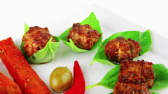 Grilled french cutlets with potatoes Stock Footage