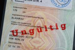 A German passport stamped 'Invalid' - stock photo