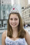 A portrait of an adolescent girl wearing a tiara Stock Photos