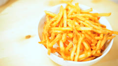 Close Up Bowl Golden French Fries Stock Footage