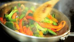 Close Up Colourful Stir Fry Vegetables Stock Footage