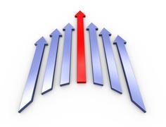 3d leading red arrow - stock illustration