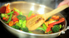Healthy Lifestyle Stir Fry Cooking Stock Footage