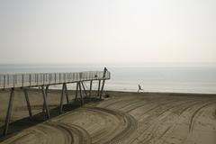 A pier and seascape Stock Photos